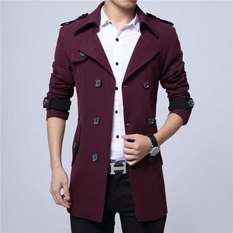 秋冬男士外套商务加绒大衣男装修身青年中年西装领英伦中长款风衣