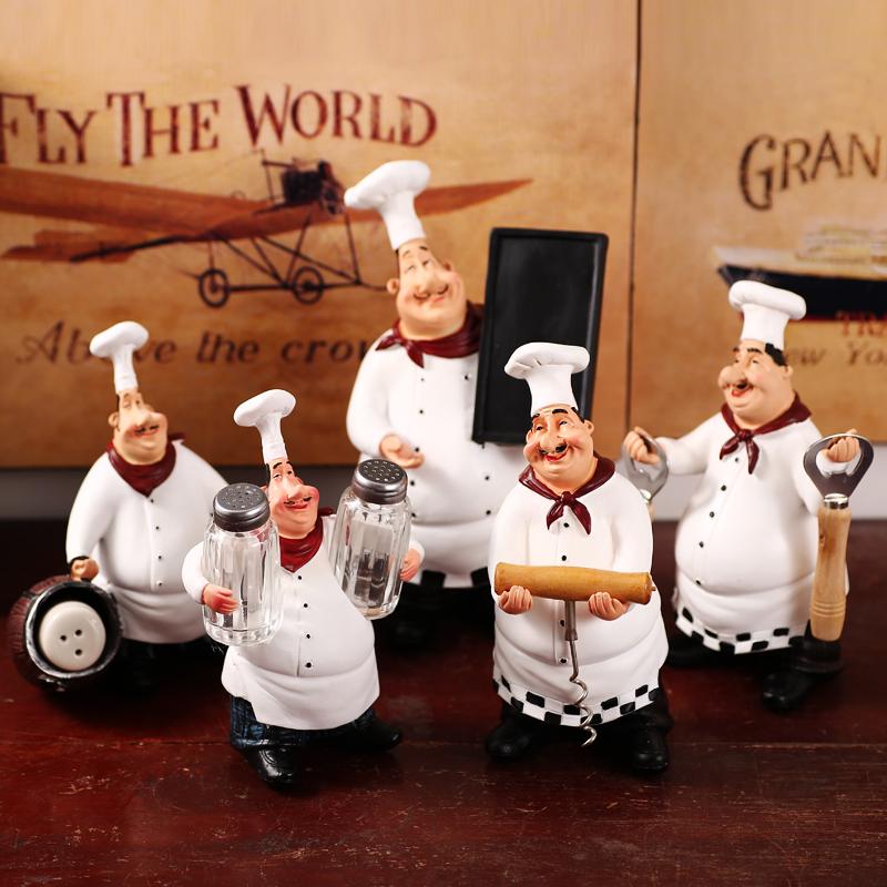 美式乡村欧式创意厨师摆件套装家居餐厅酒吧咖啡馆时尚装饰小摆设