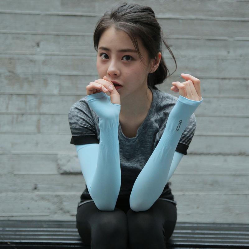 韩国zauo冰丝防晒袖套夏季冰爽袖手袖子手套护臂套袖冰凉袖男女士