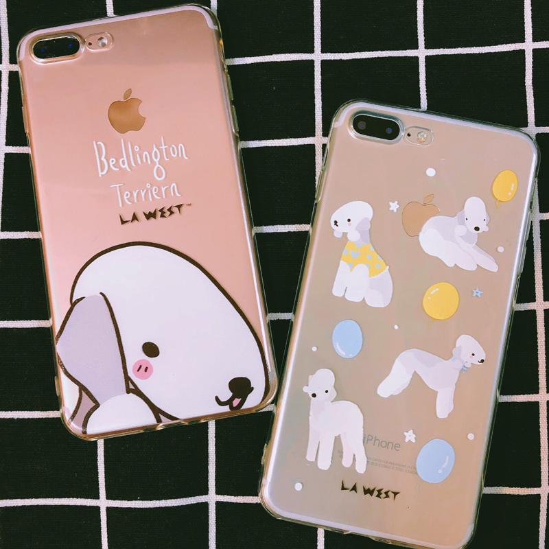 LA WESTiphone8plus蘋果X貝靈頓狗可愛手機殼7全包邊軟殼保護套6