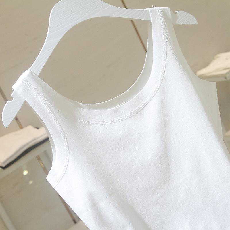 白色吊带背心外穿女 夏季新款韩版圆领修身显瘦无袖内搭上衣  2019