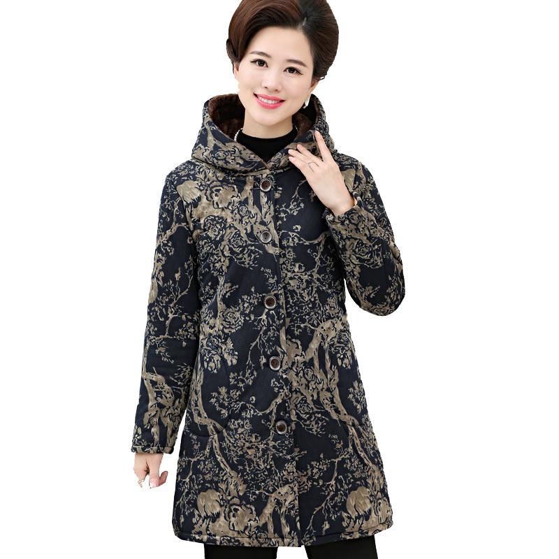 中老年棉衣女中长款妈妈装棉服老人秋冬装加绒加厚连帽棉袄女外套