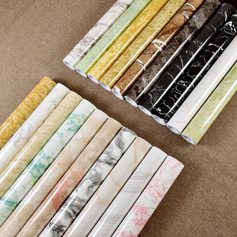 加厚自粘家用厨房防油贴纸防水灶台窗台旧家具翻新壁纸大理石墙纸