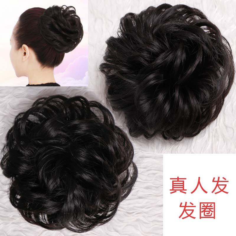 厂家直销假发女仿真发圈头花饰品盘发花苞头发饰发包皮筋圈卷蓬松