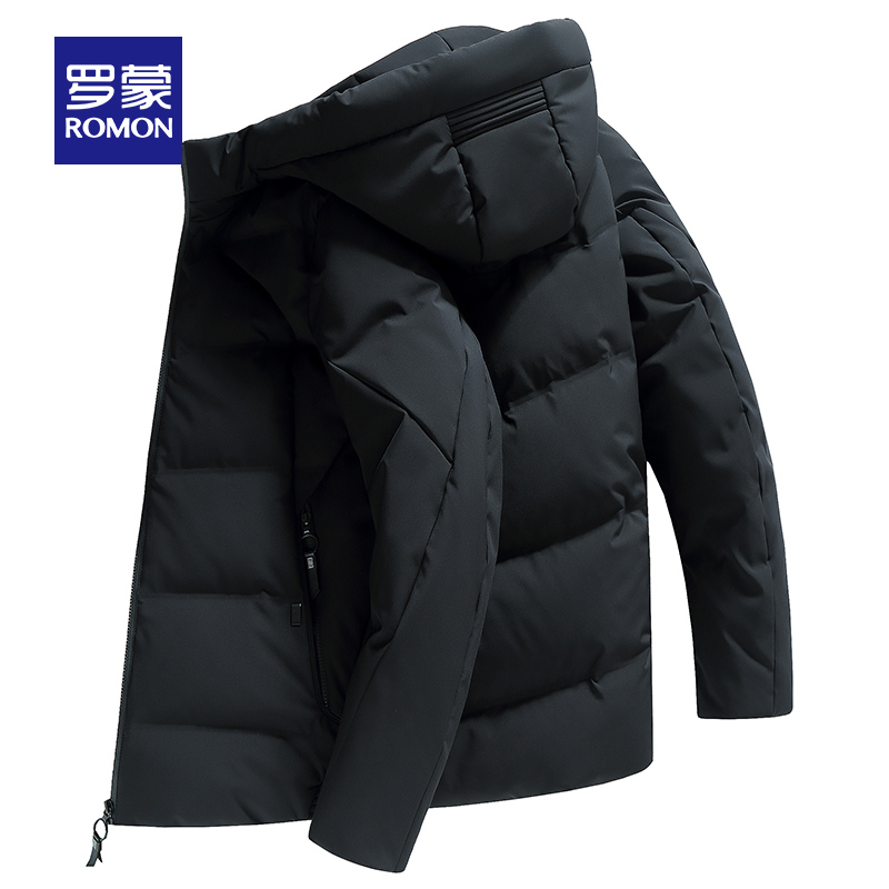 罗蒙短款羽绒服男士冬季修身连帽上衣时尚保暖休闲厚外套