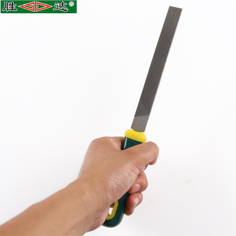 胜达工具 双色胶胶柄平头扁锉木工多规格P4模具钢锉刀中齿整形锉