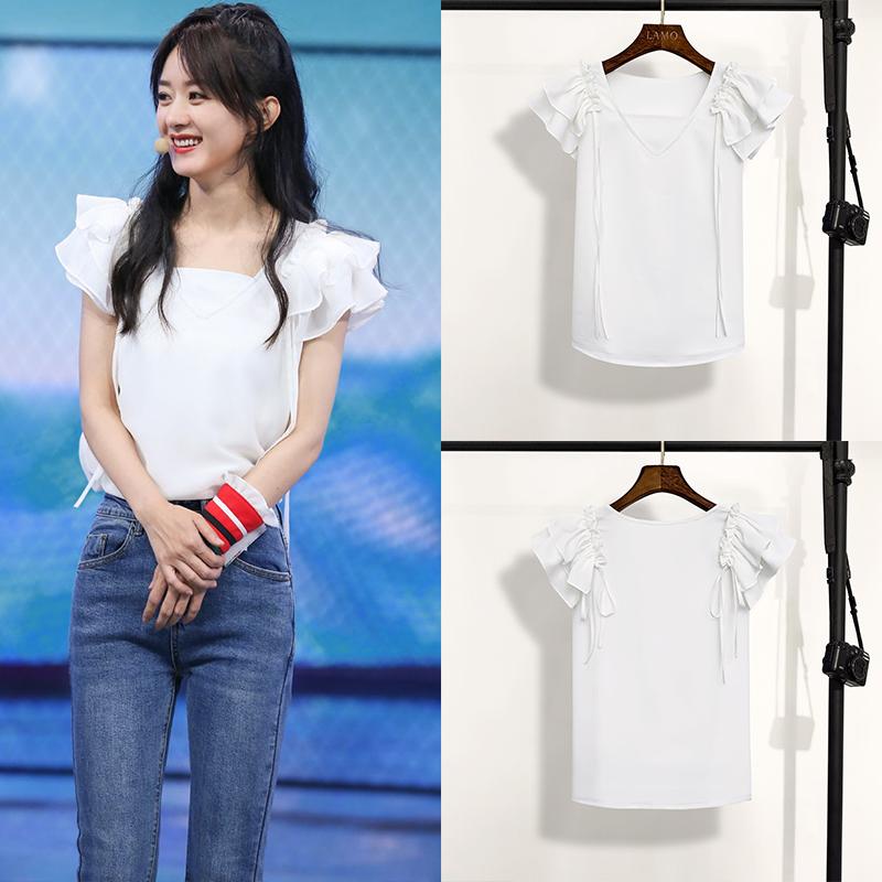 快乐大本营赵丽颖明星同款2020夏季新款女衣服雪纺衬衫白色上衣