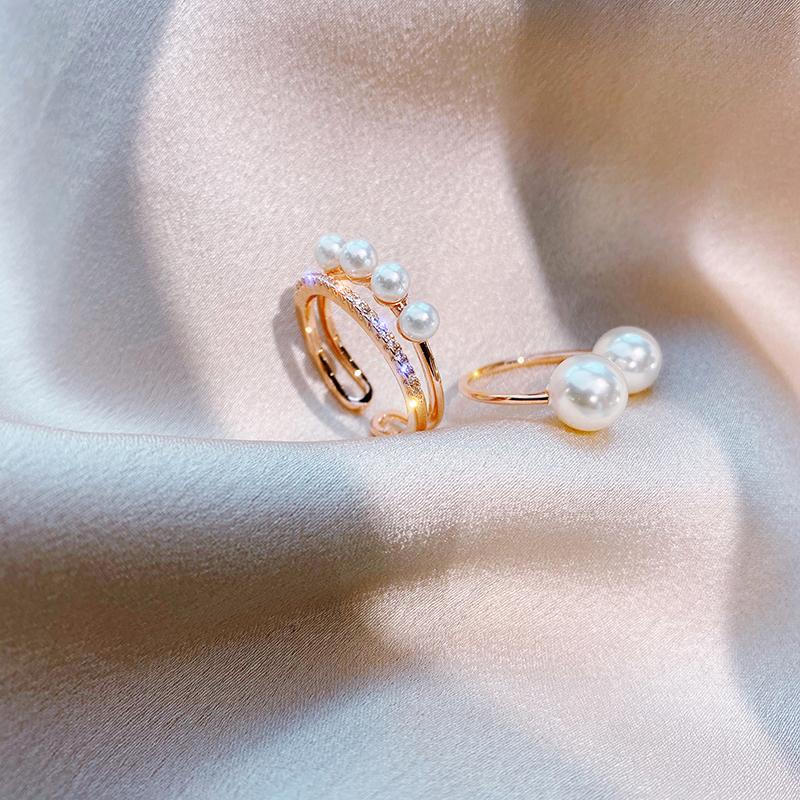 两个件套珍珠水晶开口时尚食指戒指女 潮韩版网红冷淡风指环  ins