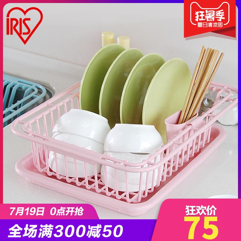 愛麗思IRIS廚房水槽瀝水籃塑料碗碟收納架雙層瀝水架帶筷子籠碗盤