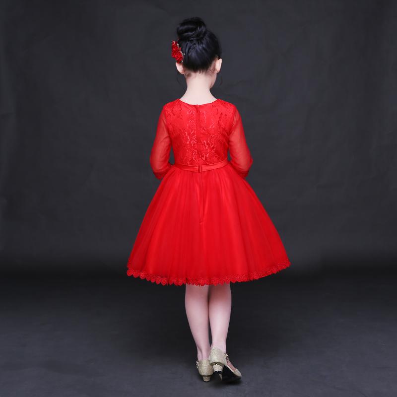 女童公主裙红色婚纱裙花童礼服蓬蓬裙长袖主持演出礼服儿童礼服女