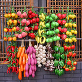 Simulation fruit and vegetable hanging string red pepper string fake corn cob garlic model plastic farmhouse restaurant decorations