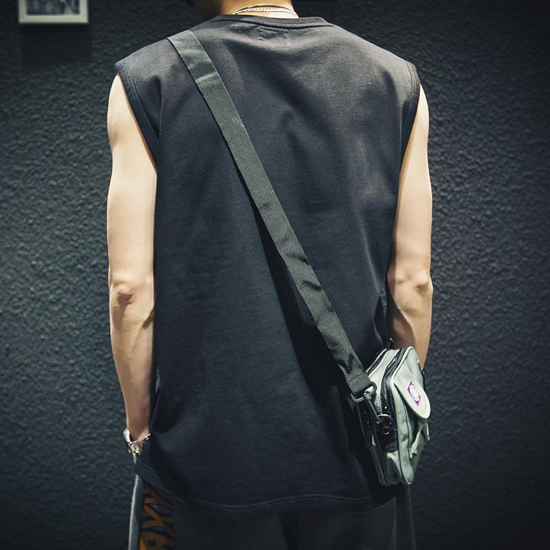 恤背心男宽松潮牌  坎肩短袖男生运动大码上衣潮 ins 夏季纯棉无袖 t