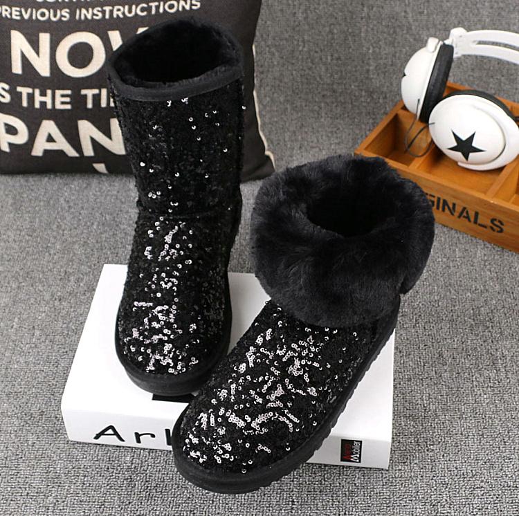 2019新款CE变色亮片厚底中筒雪地靴白色女靴子棉鞋毛毛靴包邮