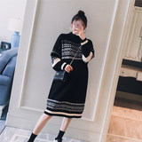 Maternity wear 2019 winter new Korean version of the turtleneck color matching fashion loose pregnant women long knitted sweater dress