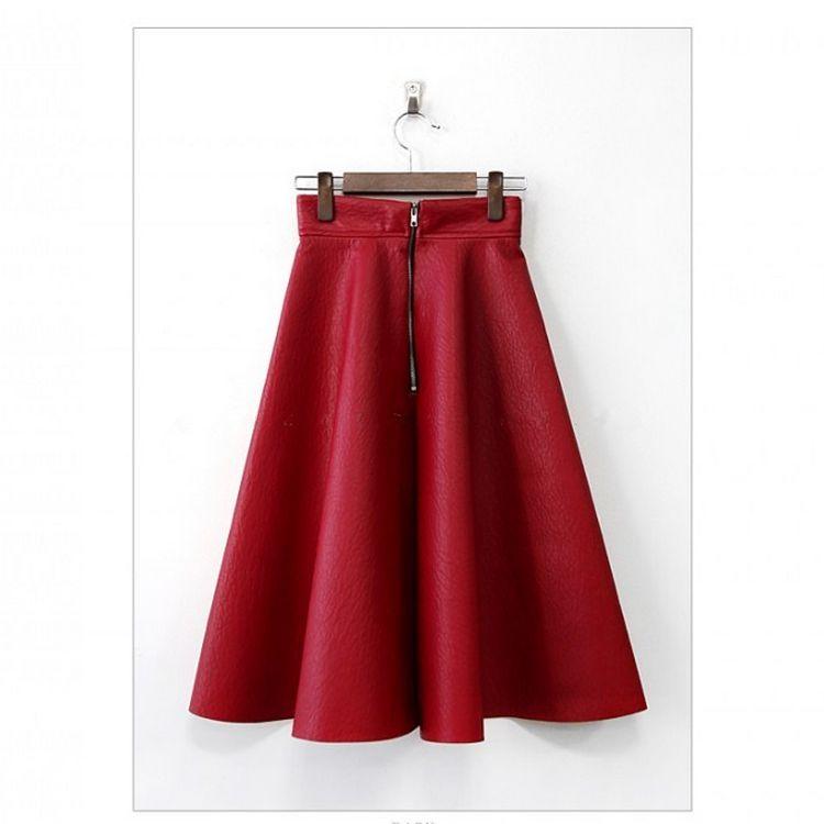 秋季新款长裙 进口PU皮大摆A字款高腰红色中长款半身裙ZC17-18主图