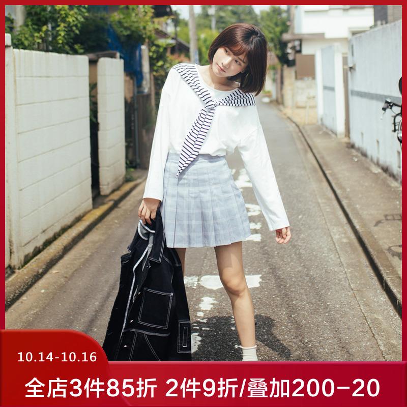 瞌睡兔定制粉色格子百褶裙子a字短款高腰半身裙夏女2019新款