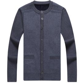 加绒加厚中老年男士冬装针织衫中年人开衫羊毛衫老人爷爷毛衣外套