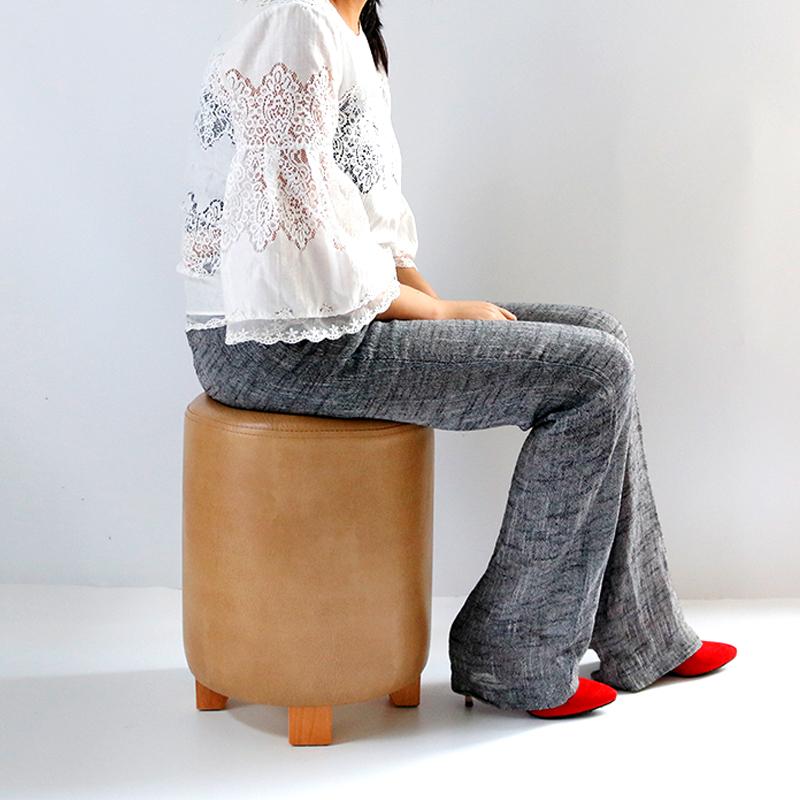 好具 实木简约皮凳餐厅圆凳试衣间凳子换衣凳梳妆凳化妆凳美甲凳