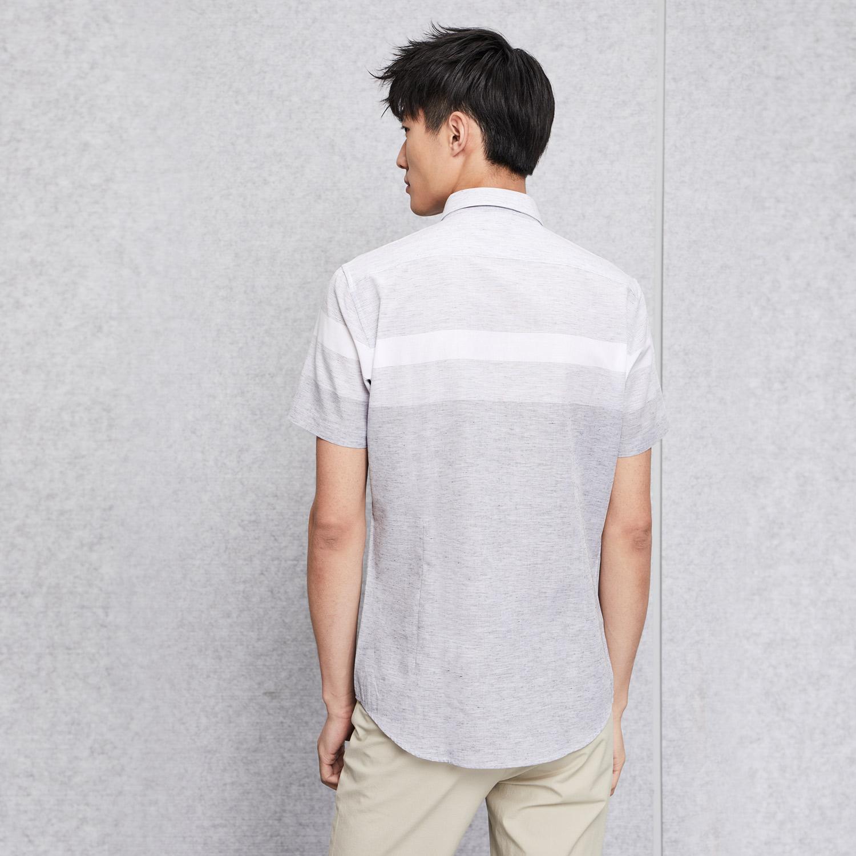 HLA/海澜之家撞色条纹休闲衬衫2018夏季新品透气短袖衬衫男