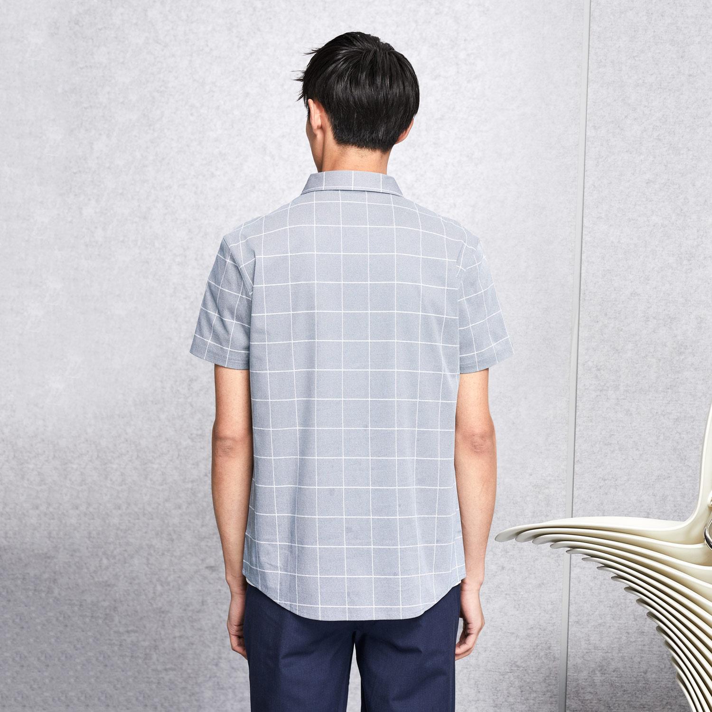 HLA/海澜之家雅致格纹短袖针织衬衫2018夏季新品透气舒适衬衫男士