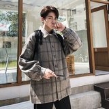 Spring and autumn plaid woolen coat men's short loose loose British style Korean version of the trend of Hong Kong style woolen suit jacket