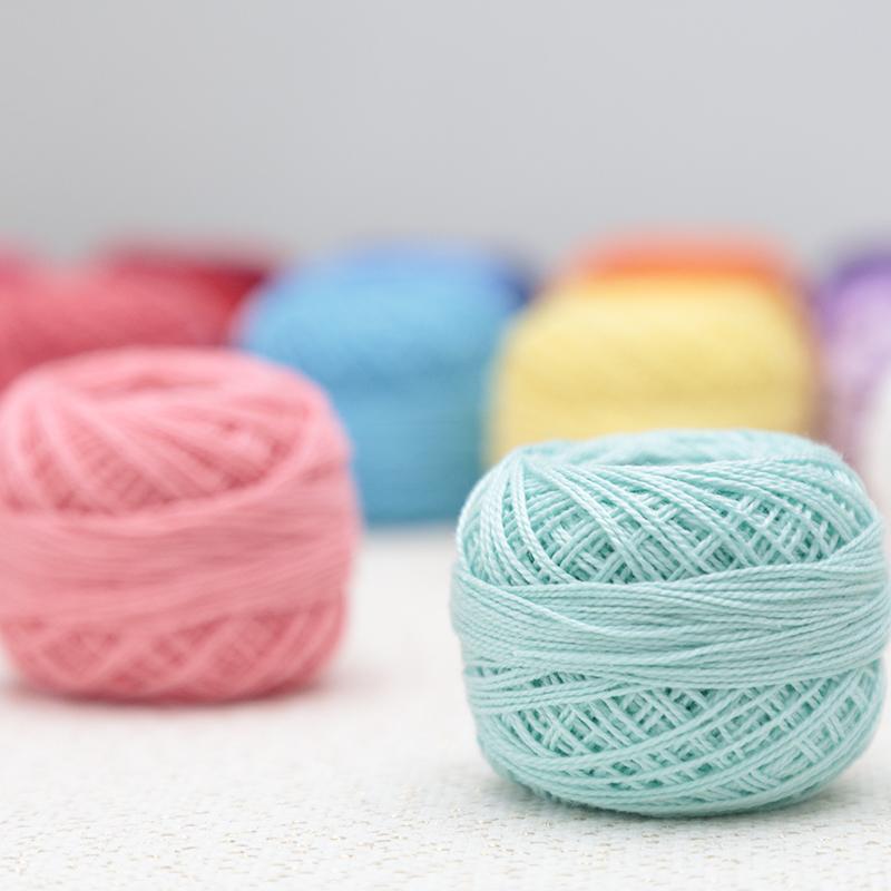 号蕾丝线 8 材料梭编织钩编珠光纯棉 DIY 克手工 10 手鞠球专用绣线亚棱