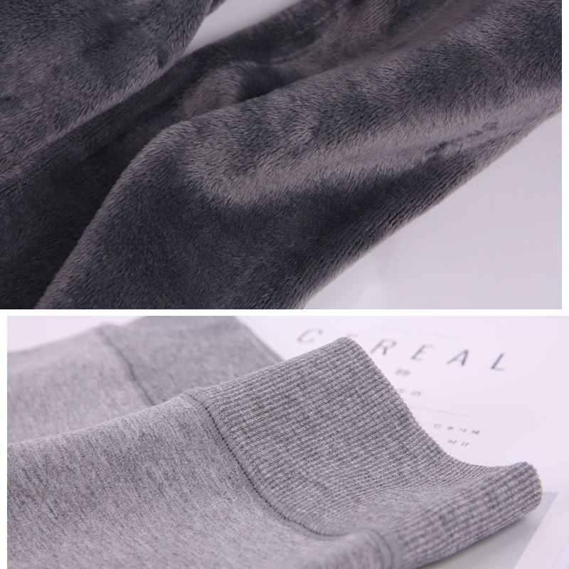 不起球秋冬加厚加绒保暖裤女踩脚连裤袜连袜连脚浅灰色外穿打底裤
