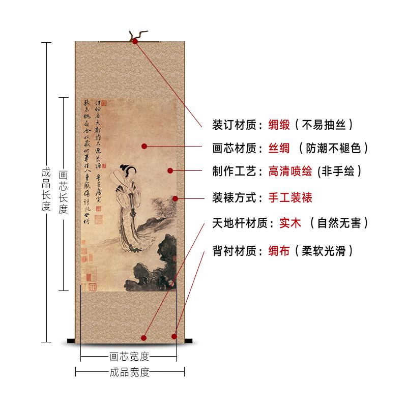 國畫仿古畫水墨畫卷軸絲綢掛畫聽琴圖唐寅山水畫名人字畫客廳裝飾