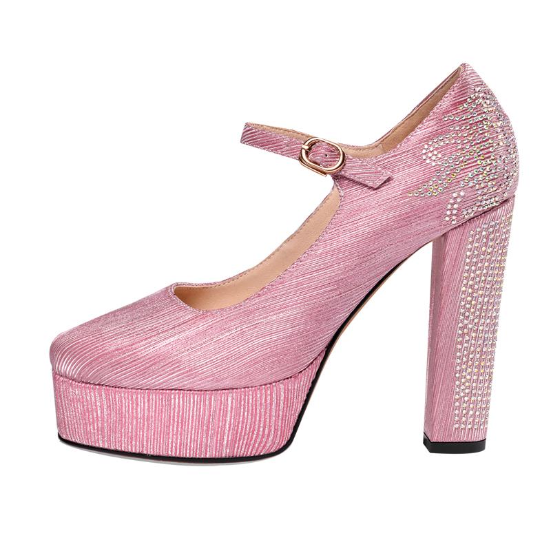 厘米 12 高跟鞋女粗跟真皮防水台宴会水钻婚鞋新款圆头一字扣超高跟
