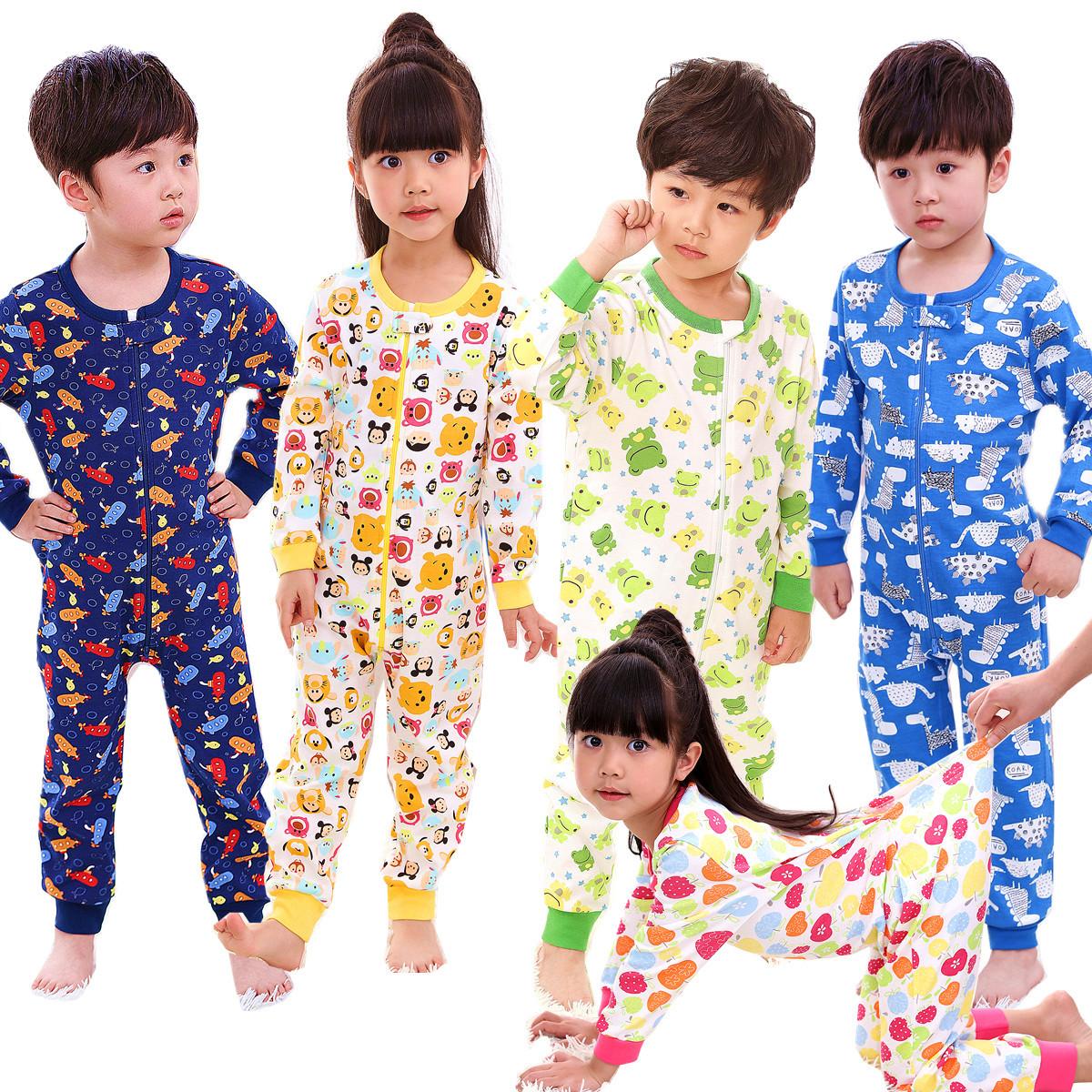 純棉春秋1到7歲大碼全開拉鍊後開腰兒童爬服連體睡衣寶寶哈衣