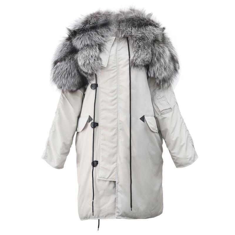 AIYALIU 90白鸭绒银狐毛连帽大毛领超保暖宽松中长款羽绒服外套