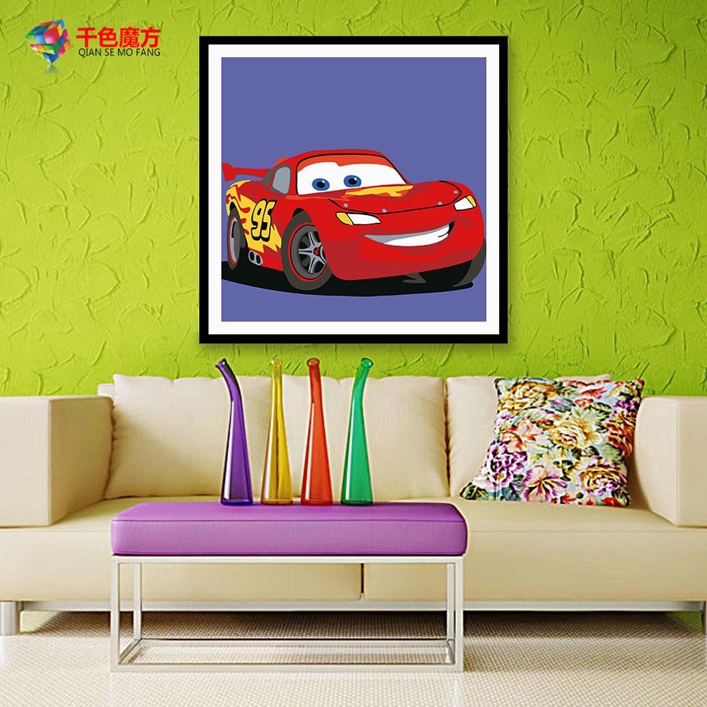 diy数字油画卡通动漫动物儿童房迷你手绘客厅自己填色油彩装饰画