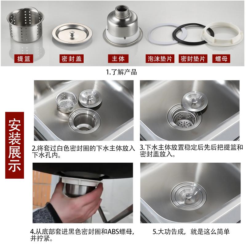 厨房洗菜盆下水管不锈钢水槽提篮提笼配件加长牙洗衣柜池下水器