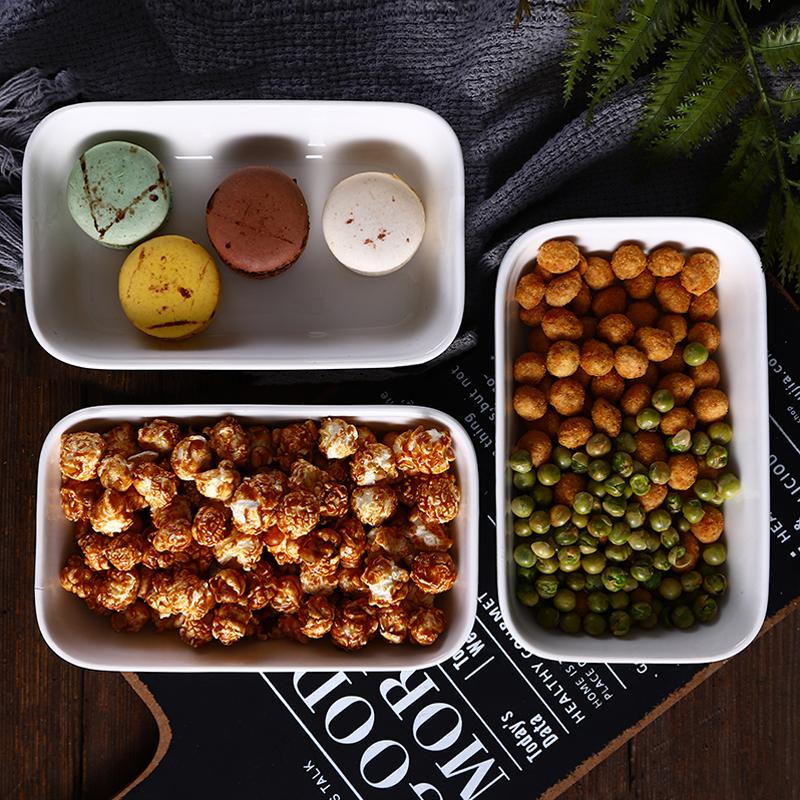 点心盘子 北欧零食盘家用干果水果盘 客厅茶几瓜子长方形糖果碗盘-给呗网