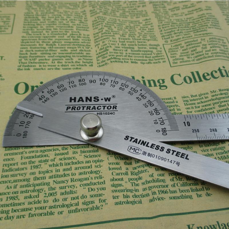 汉斯工具 角度尺 测量角度 量角器 木工分度规 不锈角度规 角尺