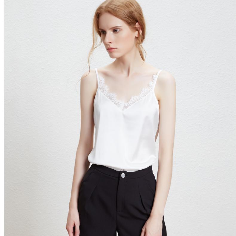 欧洲仿真丝缎吊带背心女春夏西装内搭新品蕾丝V领显瘦打底衫大码