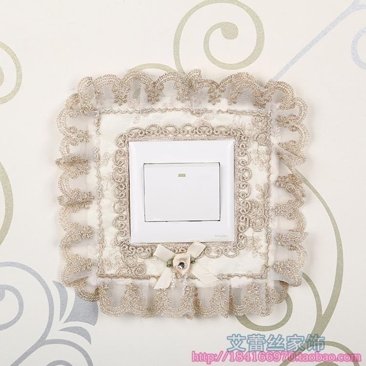 高檔蕾絲布藝開關貼開關套開關罩家居裝飾方形心型