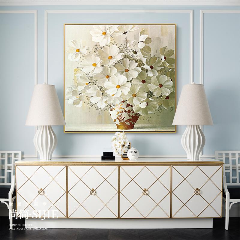 現代手繪油畫玄關裝飾畫客廳背景墻餐廳掛畫花卉臥室壁畫 平安花