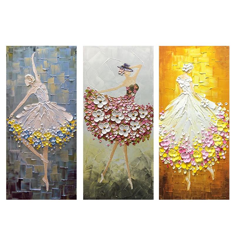 手绘油画欧式客厅装饰画北欧玄关抽象挂画芭蕾舞人物画定制