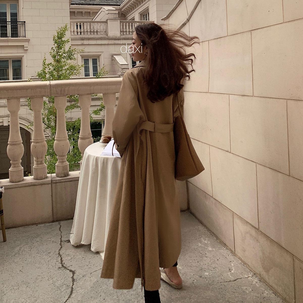 秋新款长袖百搭宽松气质复古翻领单排扣系带短款风衣 2019 大喜自制