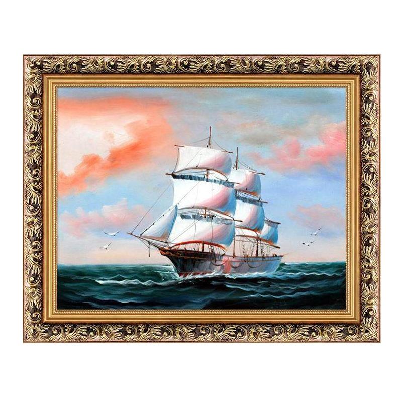 绿牌一帆风顺油画 帆船挂画有框画欧式客厅壁画书房办公室装饰画