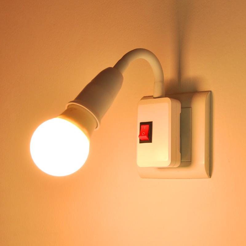 LED节能灯泡床头灯壁灯插座式插电带开关卧室超亮照明喂奶小夜灯