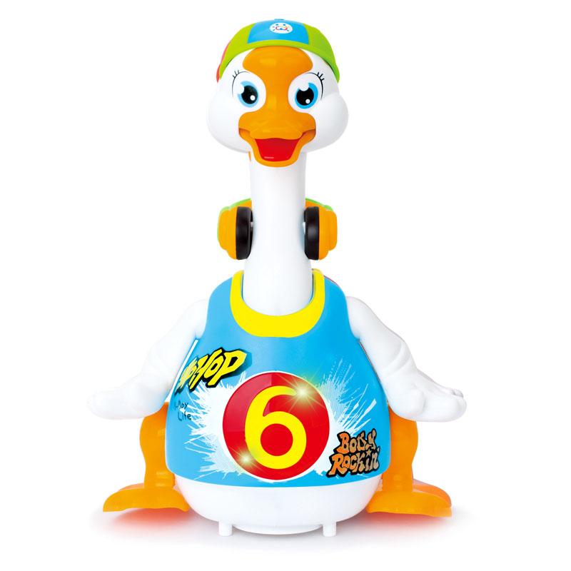 汇乐玩具828摇摆鹅 宝宝益智电动玩具1-3岁 儿童万向唱歌跳舞鸭子