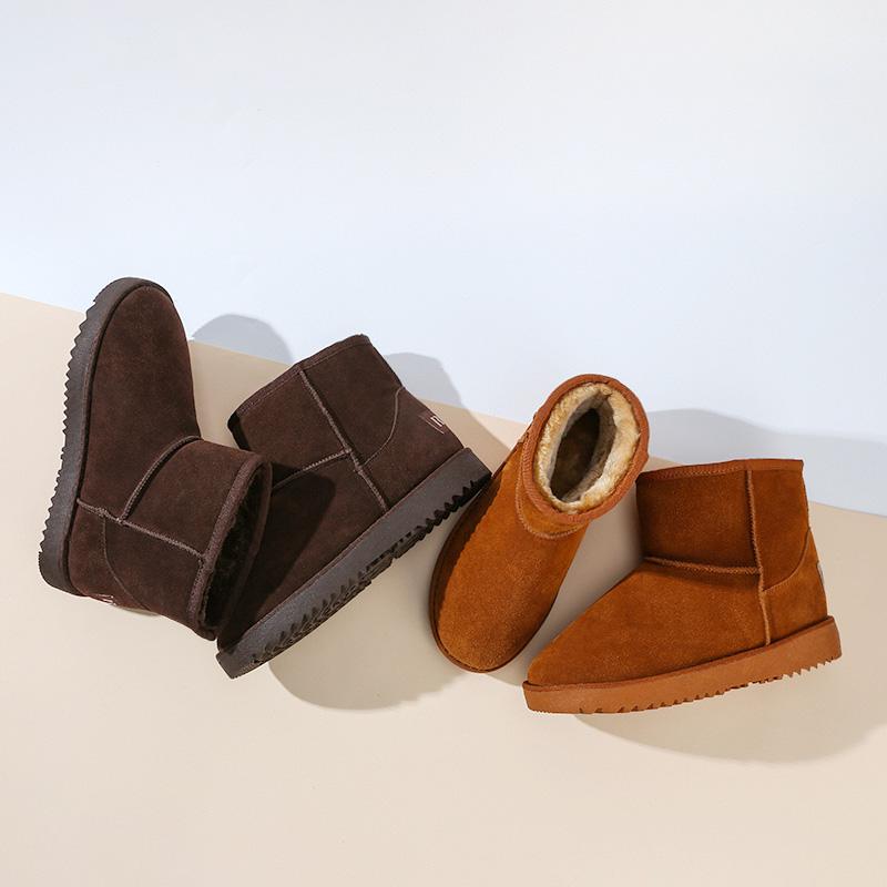人本冬季加绒保暖女雪地靴厚底短靴女平底靴子圆头短筒女鞋棉靴潮