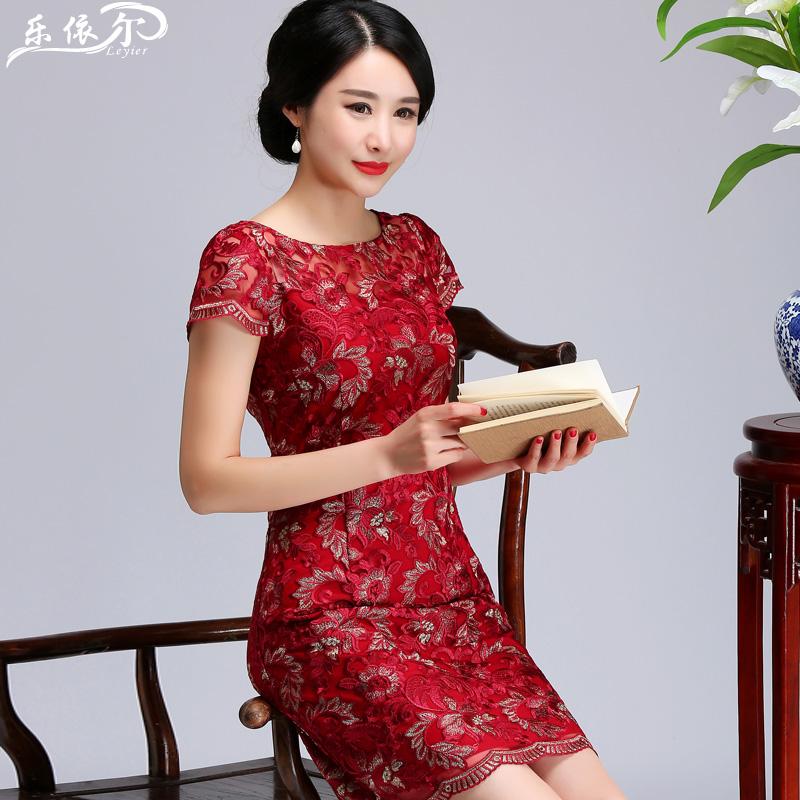 夏装妈妈装蕾丝连衣裙中长款显瘦大码短袖中老年女装妈妈婚礼旗袍