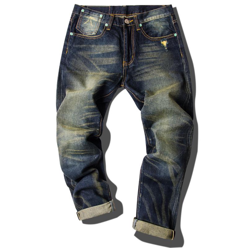 福神潮牌红边布丹宁牛仔裤男重磅水洗复古做旧赤耳牛仔裤潮已脱浆