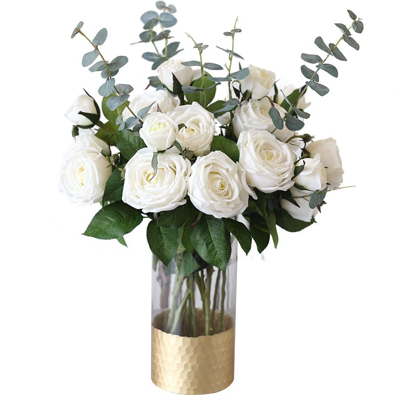 ladylike 仿真花假花装饰餐桌花 北欧手感保湿玫瑰花艺客厅摆件