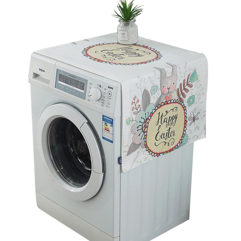 珍珠松 美式田园棉麻布艺卡通装饰罩套兔洗衣机盖巾