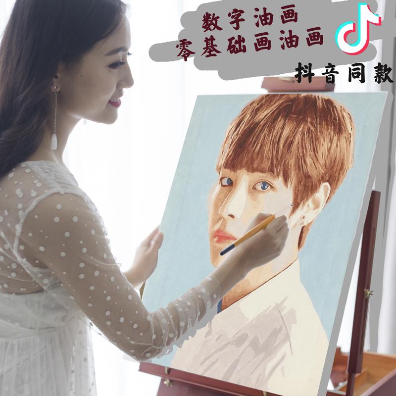 diy数字油画定制定做人物情侣照片手工手绘涂色填充填色油彩画画