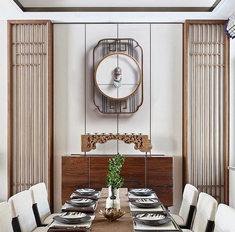 新中式墙面立体铁艺装饰品玄关墙壁挂饰创意背景墙挂件餐厅壁饰